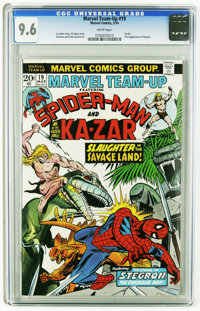 Marvel Team-Up #19 (Marvel, 1974) CGC NM+ 9.6 White pages. Spider-Man and Kaz-Zar appear. First appearance of Stegron. G...