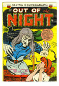 Golden Age (1938-1955):Horror, Out of the Night #13 (ACG, 1954) Condition: GD+. An evil witch witha black cat on her shoulder bursts forth from the bottom...
