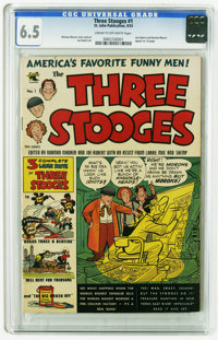 Three Stooges #1 (St. John, 1953) CGC FN+ 6.5 Cream to off-white pages. Art by Joe Kubert and Norman Maurer, who appear...