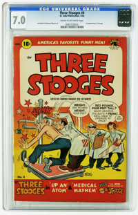 Three Stooges #4 (St. John, 1954) CGC FN/VF 7.0 Cream to off-white pages. First appearance of Li'l Stooge. Joe Kubert an...