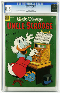 Uncle Scrooge #5 (Dell, 1954) CGC VF+ 8.5 Off-white pages. Carl Barks cover, story, and art. Overstreet 2005 VF 8.0 valu...