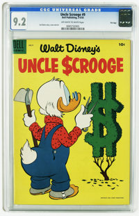 Uncle Scrooge #9 File copy (Dell, 1955) CGC NM- 9.2 Off-white to white pages. Carl Barks story, cover, and art. Overstre...