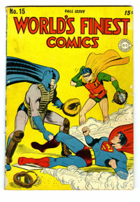 World's Finest Comics #15 (DC, 1944) Condition: GD/VG. Cover by Jack Burnley. Superman, Batman, Green Arrow, Boy Command...