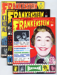 Castle of Frankenstein Group (Gothic Castle Printing, 1966-75). Includes #8 (GD), 9 (Batman feature, VG), 10 (Green Horn...
