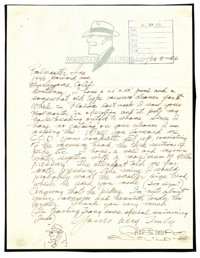 Chester Gould - Signed Hand-Written Letter with original Dick Tracy Sketch (1956). On April 8, 1956, Chester Gould wrote...