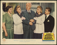 """Andy Hardy's Blonde Trouble (MGM, 1944). Lobby Card (11"""" X 14""""). Andy Hardy (Mickey Rooney) gets his father th..."""