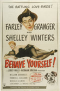 """Movie Posters:Comedy, Behave Yourself (RKO, 1951). One Sheet (27"""" x 41""""). There is little to note about this small comedy with a young Shelley Win..."""