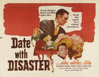 """Date with Disaster (Astor, 1957). Half Sheet (22"""" X 28""""). In this formulaic melodrama, kidnappers target the f..."""