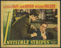 "Movie Posters:Crime, Invisible Stripes (Warner Brothers, 1939). Lobby Card (11"" X 14"").George Raft, Jane Bryan, and William Holden get top billi..."