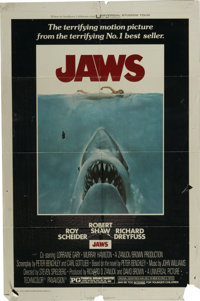 "Jaws (Universal, 1975). One Sheet (27"" X 41""). Roy Scheider and Richard Dreyfuss star in this Steven Spielberg..."