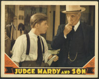 """Judge Hardy and Son (MGM, 1939). Lobby Cards (2) (11"""" X 14""""). Mickey Rooney's seventh outing as Andy Hardy tak..."""