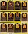 Autographs:Post Cards, Baseball Greats Signed Hall of Fame Plaque Postcards Lot of 22 PlusOne Unsigned Card. ...