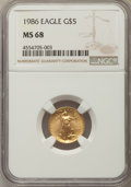 Modern Bullion Coins, 1986 $5 Tenth-Ounce Gold Eagle MS68 NGC. NGC Census: (99/13678). PCGS Population: (228/2802). ...