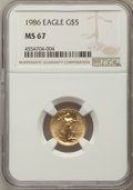 Modern Bullion Coins, 1986 $5 Tenth-Ounce Gold Eagle MS67 NGC. NGC Census: (18/13777). PCGS Population: (48/3030). ...