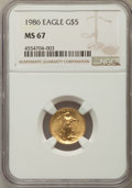 Modern Bullion Coins, 1986 $5 Tenth-Ounce Gold Eagle MS67 NGC. NGC Census: (18/13557). PCGS Population: (48/3026). ...