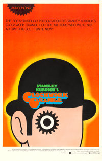 "A Clockwork Orange (Warner Brothers, 1973). One Sheet (27"" X 42"") Alternate ""R"" Style, David Pelham..."