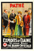 "Movie Posters:Serial, The Exploits of Elaine (Pathé, 1915). One Sheet (28"" X 42"") Episode12 -- ""The Blood Crystals."". ..."