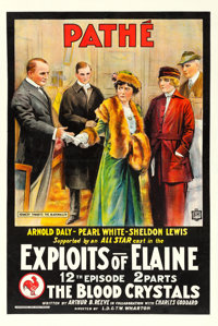 "The Exploits of Elaine (Pathé, 1915). One Sheet (28"" X 42"") Episode 12 -- ""The Blood Crystals.&quo..."