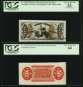 Fractional Currency:Third Issue, Fr. 1355SP 50¢ Third Issue Justice Wide Margin Pair PCGS Apparent Very Choice New 64; Very Choice New 64.. ... (Total: 2 notes)