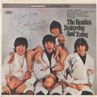 "Beatles - John Lennon's Personal Stereo ""Butcher Cover"" Prototype with His Original Artwork on the Blank Back..."