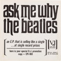 "Music Memorabilia:Recordings, Beatles ""Ask Me Why"" (Souvenir Of Their Visit To America) Rare Promo EP Sleeve (Vee-Jay EP1-903, 1964)...."