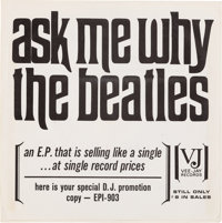 """Beatles """"Ask Me Why"""" (Souvenir Of Their Visit To America) Rare Promo EP Sleeve (Vee-Jay EP1-"""