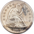 Proof Seated Dollars, 1867 $1 PR63 Cameo PCGS. OC-P1, R.3....