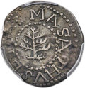 Colonials, 1652 3PENCE Pine Tree Threepence, No Pellets at Trunk, AU50 PCGS. Noe-36, W-640, Salmon 2-B, R.4....