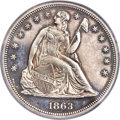 Proof Seated Dollars, 1863 $1 PR62 Cameo PCGS. CAC. OC-P1, High R.4....