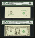 Fr. 1915-E $1 1988A Federal Reserve Notes. Two Consecutive Examples PMG Graded