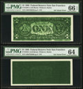 Error Notes:Inking Errors, Fr. 1922-L $1 1995 Federal Reserve Notes. Two Consecutive Examples PMG Graded.. ... (Total: 2 notes)