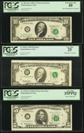Error Notes:Error Group Lots, Cutting Error Fr. 1970-C* $5 1969A Federal Reserve Star Note. PCGSVery Fine 35PPQ; Misaligned Third Printing Error Fr. 2021-B...(Total: 3 notes)