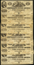 Confederate Notes:1862 Issues, T42 $2 1862 Six Examples.. ... (Total: 6 notes)