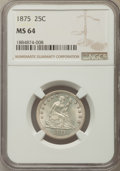 Seated Quarters: , 1875 25C MS64 NGC. NGC Census: (68/46). PCGS Population: (82/59). CDN: $700 Whsle. Bid for problem-free NGC/PCGS MS64. Mint...