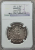 Seated Half Dollars: , 1872-CC 50C -- Damaged -- NGC Details. VF. NGC Census: (2/62). PCGS Population: (13/134). CDN: $1,000 Whsle. Bid for proble...