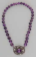 Jewelry:Necklaces, A Chinese Amethyst and Silver Necklace with Fox and Grape Motif. Marks: YUNG, (character marks). Overall chain length: 1...
