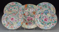 Asian:Chinese, Five Chinese Millefleur Porcelain Saucer Dishes. Marks:Six-character Guangxu mark. 6-7/8 inches diameter (17.5 cm) (fourex... (Total: 5 Items)