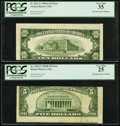 Error Notes:Miscellaneous Errors, Misaligned Back Printing Error Fr. 1963-G $5 1950B Federal Reserve Note. PCGS Very Fine 25; Misaligned Back Printing Error Fr.... (Total: 2 notes)