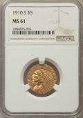 Indian Half Eagles: , 1910-S $5 MS61 NGC. NGC Census: (219/144). PCGS Population:(90/157). Mintage 770,200. ...