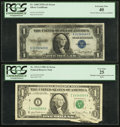 Error Notes:Error Group Lots, Multiple Gutter Fold Error Fr. 1911-I $1 1981 Federal Reserve Note.PCGS Very Fine 25; Solvent Smear Error Fr. 1608 $1 1935A S...(Total: 2 notes)