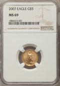 Modern Bullion Coins, 2007 $5 Tenth-Ounce Gold Eagle MS69 NGC. NGC Census: (2558/2212). PCGS Population: (276/30). ...