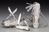 Two Pius Lang Mother-of-Pearl and Stainless Steel Penknives with Associated Penknife, circa 1960 Marks to two larg