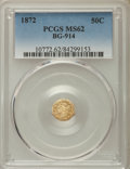 California Fractional Gold , 1872 50C Liberty Octagonal 50 Cents, BG-914, R.4, MS62 PCGS. PCGSPopulation: (18/37). NGC Census: (4/11). ...