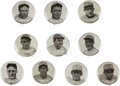Baseball Collectibles:Pins, Early 1930's Anonymous Pinbacks (PM11) Set of 10 with Ruth, Gehrig, Foxx....