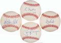 Autographs:Baseballs, Hall of Fame Single Signed Baseballs Lot of 4 - Includes Gwynn,Maddux, Fisk, & Brett. ...
