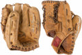 Baseball Collectibles:Others, Brooks Robinson and Clete Boyer Signed Baseball Gloves Lot of 2....