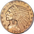 Indian Half Eagles, 1909-O $5 AU53 PCGS....
