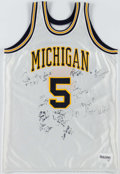 Basketball Collectibles:Uniforms, 1991-92 Michigan Wolverines Multi-Signed Jersey (13 Signatures)....