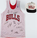 Basketball Collectibles:Uniforms, Chicago Bulls Multi-Signed Jersey With John Paxson Signed Hat. ...
