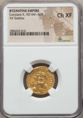 Ancients:Byzantine, Ancients: Constans II (AD 641-668). AV solidus. NGC Choice XF....